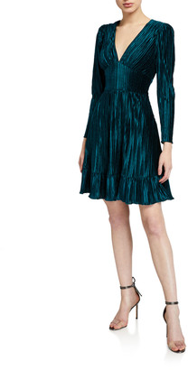 Shoshanna Laine V-Neck Long-Sleeve Pleated Velvet Dress