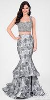 Terani Couture Gunmetal Beaded Two Piece Floral Prom Dress