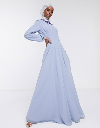 ASOS DESIGN maxi dress with embellished neckline and long sleeve in pale blue