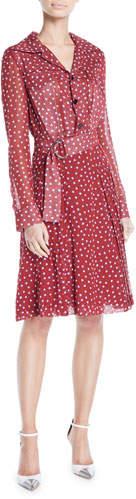 Derek Lam Long-Sleeve Button-Front Belted Dot-Print Silk Shirtdress