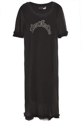 Love Moschino Layered Ruffle-trimmed Mesh And Printed Stretch-jersey Dress