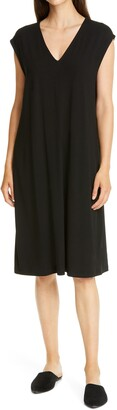Eileen Fisher V-Neck Sleeveless Knit Dress