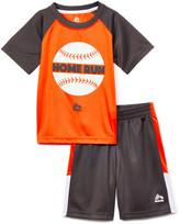 Rbx RBX Boys' Active Shorts VIBRANT - Vibrant Orange & Black 'Home Run' Crewneck Tee & Shorts - Toddler