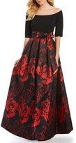 Jessica Howard Off-the-Shoulder Floral Print Ballgown
