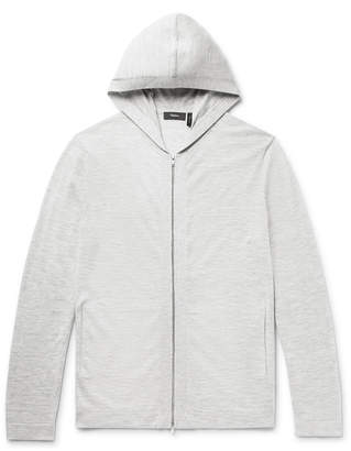 Theory Lievos Melange Cashmere Zip-Up Hoodie - Men - Gray