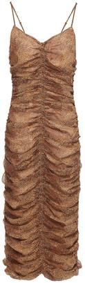 Nicholas Ruched Printed Silk-georgette Midi Dress