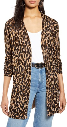 Halogen Leopard Print Linen Blend Cardigan
