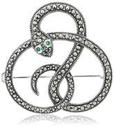 Sterling Silver Marcasite Snake with Emerald Eyes Brooch