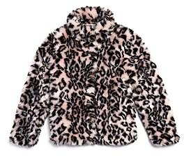 Aqua Girls' Leopard Print Faux Fur Jacket, Big Kid - 100% Exclusive