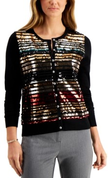 Charter Club Sequin-Embellished Cardigan, Created for Macy's