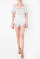 Lush Off Shoulder Embroidered Romper