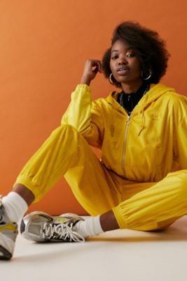 adidas Yellow Corduroy Zip-Through Hoodie - Beige UK 6 at Urban Outfitters