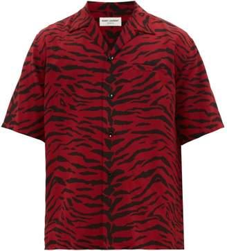 Saint Laurent Zebra-print Short-sleeve Silk Shirt - Mens - Black Red