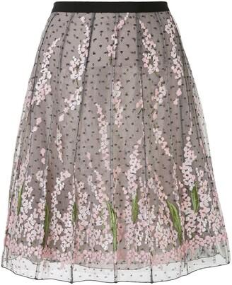 Giambattista Valli floral-embroidered tulle A-line skirt