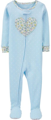 Carter's Baby Girl Floral Heart Zip Footed Pajamas