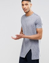 Asos Super Longline T-Shirt In Space Dye With Angled Split Hem