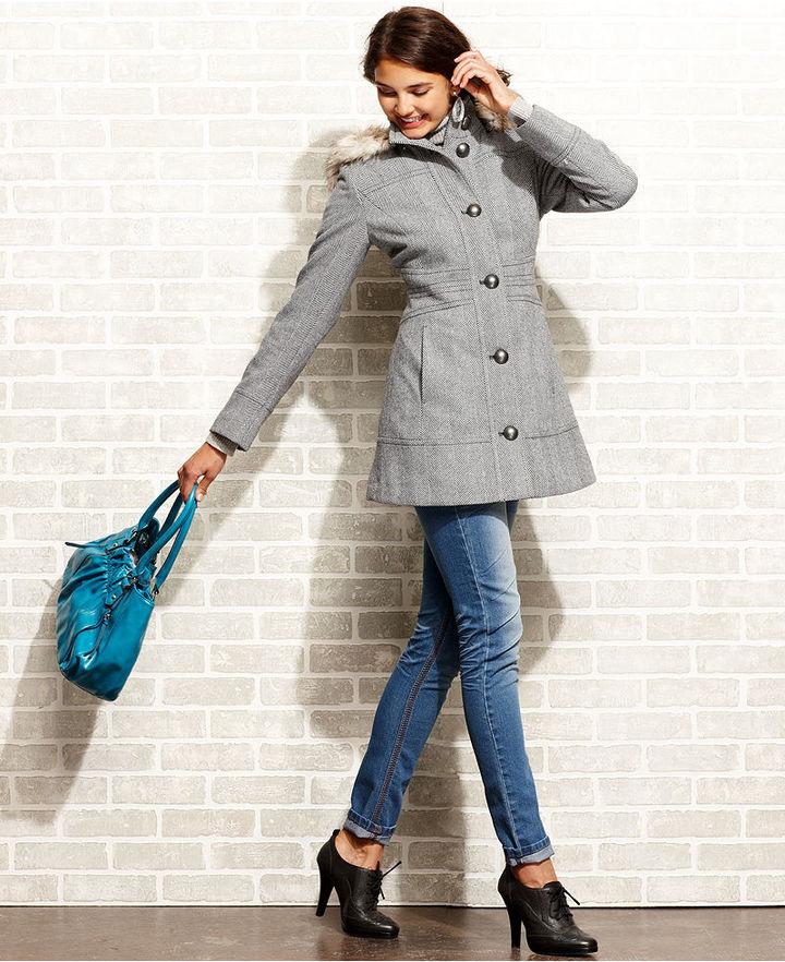Esprit Coat, Herringbone-Tweed Faux-Fur-Trim Hooded