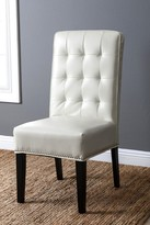 Hudson White Leather Nailhead trim Dining Chair