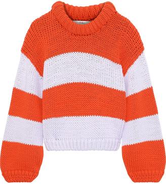 Tibi Striped Cotton-blend Sweater
