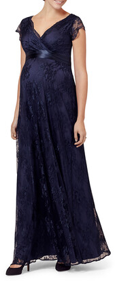 N. Tiffany Rose Maternity Eden Long Floral-Lace Gown with Satin Sash