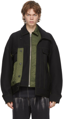 Feng Chen Wang Black and Green Panelled Jacket