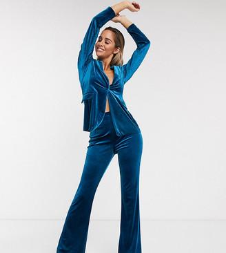 Asos Design DESIGN jersey kick flare suit trouser in velvet-Green
