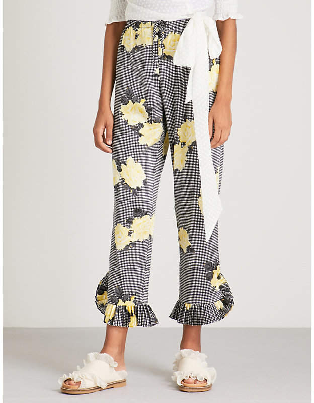 Ganni Calla relaxed-fit mid-rise stretch-silk trousers