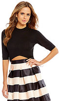 Gianni Bini Roby Mock Neck 3/4 Sleeve Crop Knit Top
