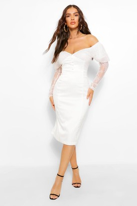 boohoo Lace Bardot Puff Sleeve Midi Dress