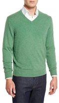 Neiman Marcus Cashmere V-Neck Sweater, Grass