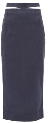 Jacquemus Valerie Cutout-waist Midi Pencil Skirt - Navy