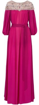 Marchesa Belted Embellished Tulle-paneled Silk Crepe De Chine Gown