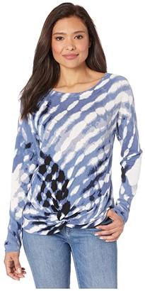 Nic+Zoe Petite Hazy Days Sweater (Blue Multi) Women's Clothing