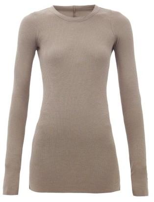 Rick Owens Long-sleeved Ribbed-jersey T-shirt - Grey