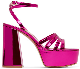 Gianvito Rossi Pink Angelica Heeled Sandals
