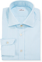 Kiton Men's Aqua Multi-Stripe Dress Shirt