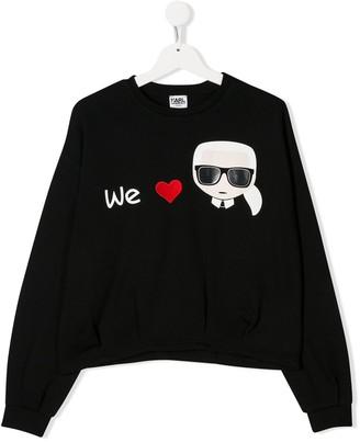 Karl Lagerfeld Paris TEEN We Love embroidered sweatshirt