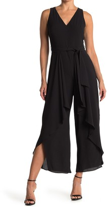 London Times Ruffle V-Neck Jumpsuit