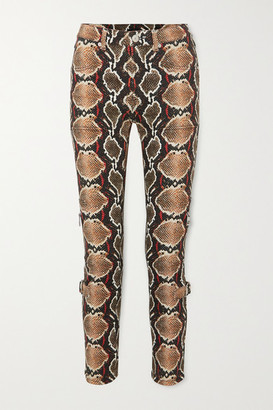 Burberry Snake-print High-rise Slim-leg Jeans - Gray green