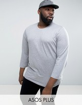 Asos PLUS T-Shirt With 3/4 Length Sleeves In Gray