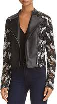 Aqua Yigal x Lace & Faux Leather Moto Jacket - 100% Exclusive