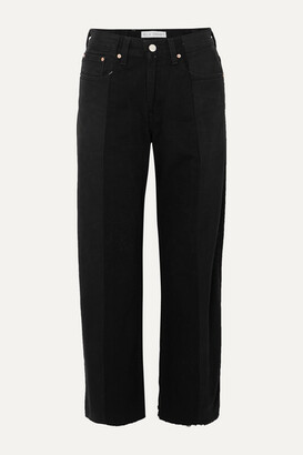 E.L.V. Denim - + Net Sustain The Twin Frayed Two-tone High-rise Wide-leg Jeans - Black