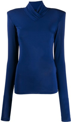 Unravel Project Mock-Neck Long Sleeve Top