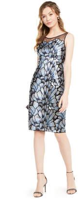 Adrianna Papell Embroidered Illusion-Yoke Sheath Dress