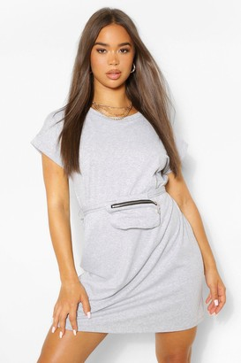 boohoo Jersey T-Shirt Dress With Wrap Around Body Bag