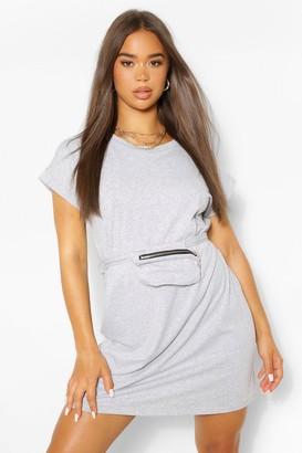 boohoo Jersey T-Shirt Dress With Wrap Around Body Bag