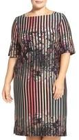 Gabby Skye Plus Size Women's Floral Stripe Sheath Dress