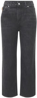 Ganni Washed Cotton Denim Cropped Jeans