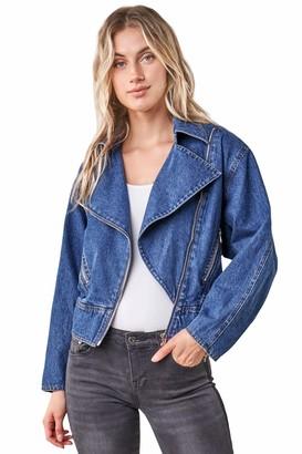 Sugar Lips Sugarlips Women's Denim Moto Jacket X Small