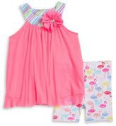 Sweet Heart Rose Sweetheart Rose Baby Girls Tulle Tunic and Flamingo Print Shorts Sets